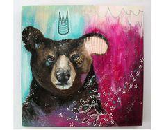 folk art Original Bear painting whimsical boho by thesecrethermit