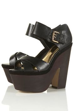 TOPSHOP Lima 2 Black Leather Gold Cuff Chunky Wooden Wedge Heels