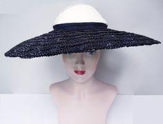 Vintage 1940s Hat//40s Hat//Large Brim hat//Old by VintageDiva60