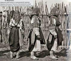 Девушки-крестьянки в повседневной одежде-Рязанская губерния 1910 г.
