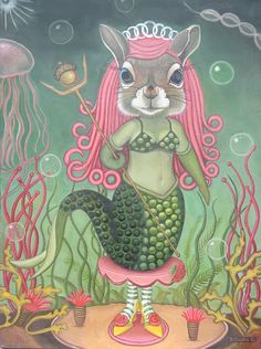 THIS may just be the coolest Mermaid that has ever meerd. Mermaid Squirrel: Standing On Her Own Two Feet by Carollyne Yardley