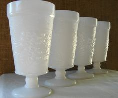 Mid Century White Milk Glass Footed Tumblers by Poppycbrilliant