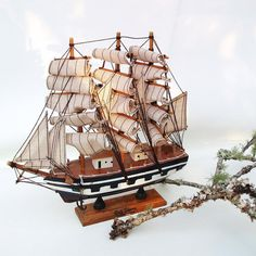 Wooden Ship Model Sailing Ship Nautical Decor by WhimzyThyme