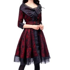 Artka Women's Bilayer Ramie 3/4 Sleeve Lacework Smart Dress ,Black & Red,L Artka http://smile.amazon.com/dp/B00GV3LUEA/ref=cm_sw_r_pi_dp_EVcPub0E4NVMM