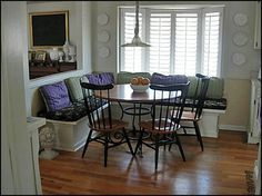 If you have a dining area that's a bit too small for a regular table and chairs, try this solution