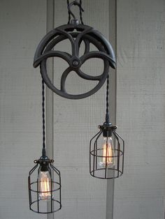 RESERVED for Lisa / Upcycled Vintage Well Pulley Pendant Light with Bulb Cages