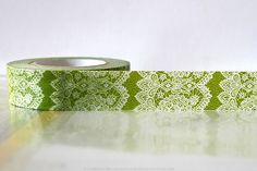 I did not know washi tape existed prior to my pinterest addiction. Now I think I need some.  Vertical GREEN Lace Trim Paper Washi Tape Japanese 15mm Single 49ft