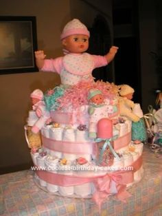 Doll Cake Designs For Baby Girl : 1000+ images about Diaper Cakes on Pinterest Diaper ...