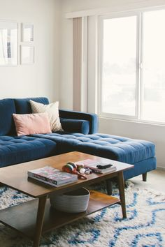 Dark Blue Velvet Right Sectional