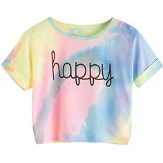 SweatyRocks Women's Tie Dye Letter Print Crop Top T Shirt ($13) ❤ liked on Polyvore featuring tops, t-shirts, shirts, tie-dye shirts, t shirt, tie die t shirt, tie-dye crop tops and tye dye shirts
