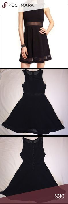 Express black mesh skater dress Worn once for a homecoming dance - black dress with mesh top and middle section - price negotiable Express Dresses
