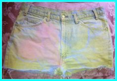 Love Candy Shorts Levis Blue Pink Yellow by OCVintageArtCouture, $30.00