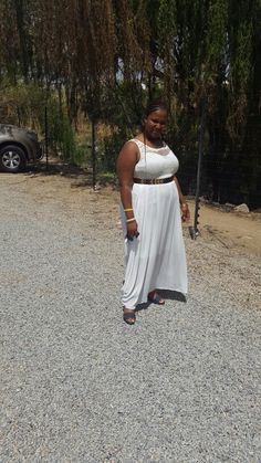 Grecian style dress with gold belt