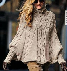 Hand Knit Turtleneck Poncho with sleeves from Alpaca blend yarn .Made to order - Poncho stricken Poncho Knitting Patterns, Knitted Poncho, Hand Knitting, Vintage Knitting, Vogue Knitting, Knit Shrug, Knitting Sweaters, Poncho Coat, Cable Knitting