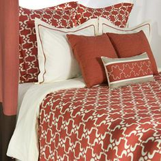 @Overstock - This bedding ensemble from Rizzy Home features rich coral and creamy ivory pattern reminiscent of traditional Moroccan tile patterns. Highly stylized, this duvet set is full of movement with a touch of eclectic fashion.http://www.overstock.com/Bedding-Bath/Rizzy-Home-Taza-King-size-10-piece-Duvet-Cover-Set-with-Insert/6150950/product.html?CID=214117 $399.59