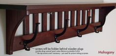 Coat Rack Mission 4HK Solid Oak Wood Wall Mounted Shelf | eBay