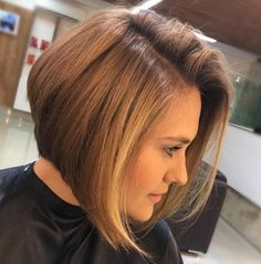 Brown Angled Side Part Bob