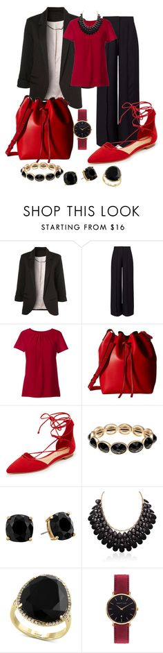 """""""Boardroom Red"""" by sommer-reign ❤ liked on Polyvore featuring Miss Selfridge, Lands' End, Gabriella Rocha, Schutz, Monet, Kate Spade, Effy Jewelry and Abbott Lyon"""