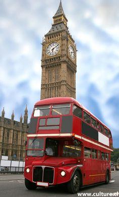 Big Ben et bus à impériale ... rouge british
