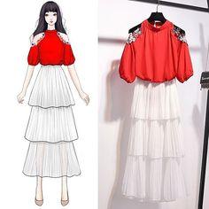 Fashion Drawing Dresses, Korean Fashion Dress, Fashion Dresses, Unique Prom Dresses, Dresses For Teens, Mode Ulzzang, Anime Girl Dress, Royal Clothing, Dress Sketches