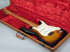 As the year that started it all, Stratocasters from 1954 are extremely collectible and prized instruments. Full production on the Stratocaster did not start Strat Guitar, Fender Stratocaster, Fender Guitars, Acoustic Guitars, Guitar Art, Cool Electric Guitars, Guitar Tattoo, Buddy Holly, Guitars For Sale