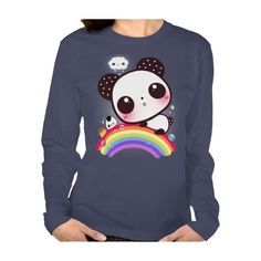 Cute panda with kawaii food on rainbow T-shirts ($36) ❤ liked on Polyvore featuring tops, t-shirts, panda t shirt, panda tee, rainbow t shirt and panda bear t shirt