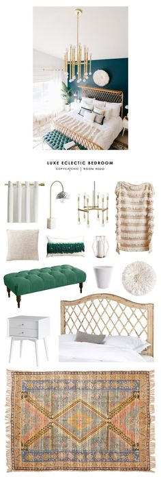 This luxe boho eclectic master bedroom by Alexandra Evjen gets recreated for less by @copycatchic | budget home decor and design room redos looks for less by @audreycdyer