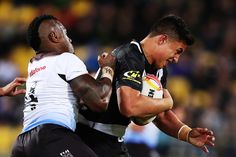 Canberra Raiders Joseph Tapine of the Kiwis charges forward during the 2017 Rugby League World Cup Quarter Final match between New Zealand and Fiji at Westpac Stadium on November 18, 2017 in Wellington, New Zealand.
