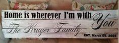 Custom Wooden Pallet Sign - Home Is Wherever - Family Sign