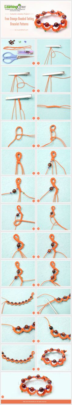 Autumn Jewelry Project- Free Orange Beaded Tatting Bracelet Patterns by wanting Tatted Bracelet Pattern, Tatting Bracelet, Tatting Jewelry, Tatting Lace, Macrame Jewelry, Needle Tatting, Bracelet Patterns, Beaded Bracelets, Tatting Tutorial