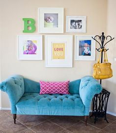 simple white frames with (wow!) settee