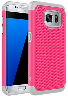 S7 Edge Case, Tauri [Drop Protection] Protective Case [Shock Proof] Dual Lawyer Hybrid Defender Armor Case Cover For Samsung Galaxy S7 Edge - Hot Pink