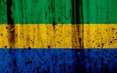 Download wallpapers Gabonese flag, 4k, grunge, flag of Gabon, Africa, Gabon, national symbols, Gabon national flag