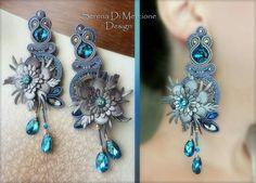 Soutache earrings Leather Jewelry, Boho Jewelry, Jewelery, Soutache Necklace, Ring Necklace, Big Earrings, Tassel Earrings, Handmade Accessories, Handmade Jewelry
