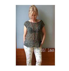 Hand Knitted Natural Linen Top  Eco Linen top Linen flax knits
