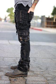 Black Shaggy Denim Pant by BoneBlack on Etsy- Schwarz zottige Denim Pant von BoneBlack auf Etsy Black Shaggy Denim Pant by BoneBlack on Etsy - Rugged Style, Mode Masculine, Mode Outfits, Casual Outfits, Dark Fashion, Mens Fashion, Mode Sombre, Black Denim Pants, Apocalyptic Fashion