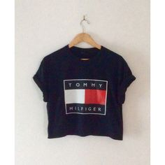 classic black tommy hilfiger crop top swag sexy style tshirt fresh... ($22) ❤ liked on Polyvore featuring tops, crop top, oversized tops, sexy crop top, urban crop tops and urban tops