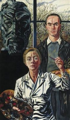 Drie generaties (Three Generations) by Charley Toorop (1950) Museum Boijmans Van Beuningen, Rotterdam. In this family portrait, Charley Toorop has immortalised herself, her son, and her father in her studio in Bergen. Behind the artist is her son, the painter Edgar Fernhout holding a palette. Her father, the famous artist Jan Toorop had died in 1928; he is represented by the large bronze portrait by the sculptor John Raedecker.