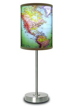 LAMP-IN-A-BOX 1970's World Map Lamp $29.99