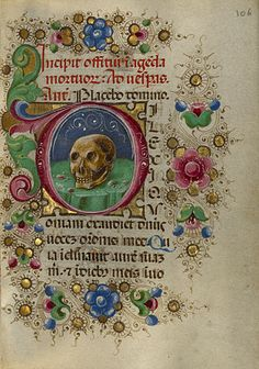 Gualenghi-d'Este Hours   Initial D: A Skull in a Rocky Field         Taddeo Crivelli  Italian, Ferrara, about 1469  Tempera colors and gold leaf on parchment    4 1/4 x 3 1/8 in.  MS. LUDWIG IX 13, FOL. 106