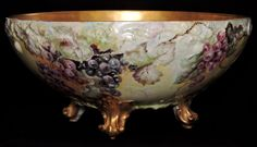 c1895 French T&V Limoges porcelain punch bowl, raised feet, rare 1pc,grapes,14.5  | eBay