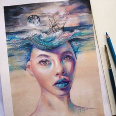 Hauntingly gorgeous #watercolor & #pastel #illustration by Georgina Kreutzer (@georgina_kreutzer) of a beautiful woman distracted by thoughts of the voyage of a faraway ship sailing through a horrible storm. She appears to have a thousand-yard stare so perhaps the ship was already lost and her beloved was aboard? Or maybe she craves the adventure of the open sea. Or are the storm and churning ocean a facsimile for her current emotional state? Or maybe shes a Goddess of the Sea? Maybe we are…