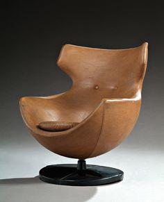 Pierre Guariche; Leather Armchair for Meurop, 1960s.