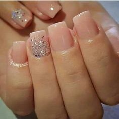 On average, the finger nails grow from 3 to millimeters per month. If it is difficult to change their growth rate, however, it is possible to cheat on their appearance and length through false nails. Acrylic Nails Natural, Square Acrylic Nails, Cute Acrylic Nails, Acrylic Nail Designs, Natural Nails, Nail Art Designs, Natural Wedding Nails, Nails Design, Nude Nails