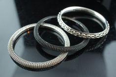 Vintage Art Deco Bangles Ring  Bracelet  Set of 3 Vintage silver black Tone mesh Gift for Her  2  5/8'' in diameter Narrow bangle dress a092 by VintageEstate86 on Etsy