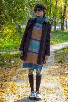 White-random-brand-shoes-turquoise-blue-dress-like-thrifted-sweater