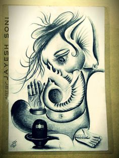Old work Totally customize Tittle - lord Ganesha Medium - Pencil drawing Artwork by - JAYESH SONI Hope u all like this to. Lord Shiva Sketch, Ganesha Sketch, Ganesha Drawing, Lord Ganesha Paintings, Lord Shiva Painting, Ganesha Art, Krishna Painting, Ganesh Idol, Dark Art Drawings