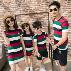 Summer Family Matching Outfits Stripe Tshirt and Mother Daughter Dress Sets Fashion Colorful Casual Kids Clothes Mother Daughter Matching Pajamas, Mother Daughter Outfits, Family Picture Outfits, Matching Family Outfits, Twin Outfits, Kids Outfits, Summer Outfits, Father And Son Clothing, Family Clothing Sets