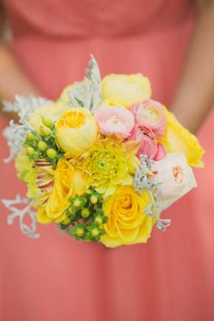 Yellow and pink #summer #bouquet | Event Planning: Hey Gorgeous Events - heygorgeousevents.com | Photography: Abby Rose Photo - abbyrosephoto.com  Read More: http://www.stylemepretty.com/2014/05/16/heart-themed-summer-wedding/
