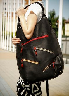 oversize leather woman bag handmade ladybuq art design by ladybuq